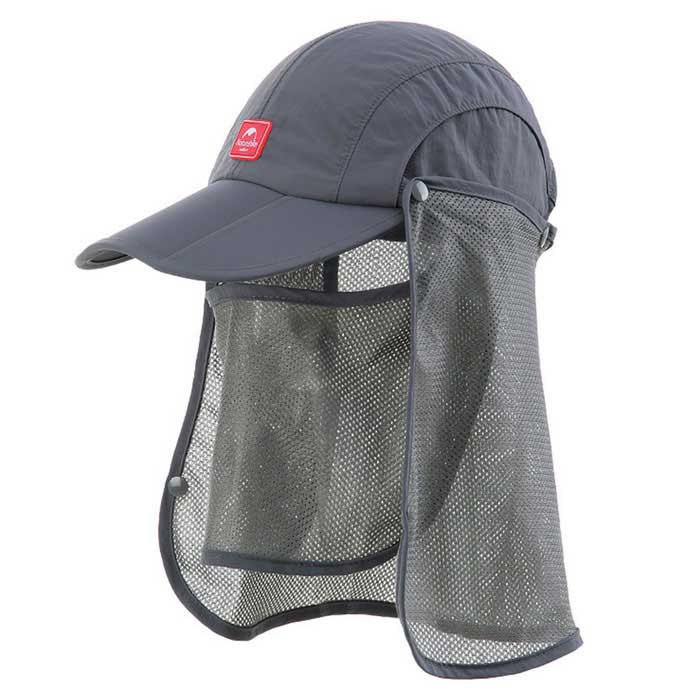 Nature Hike | Sun Shading Quick Dry Folding Cap with protective face mask (Grey)
