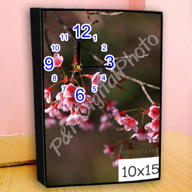 อัดรูปออนไลน์ ล้างรูปราคาถูก ขนาดอัดรูป 10x15 + กรอบลอย + นาฬิกา
