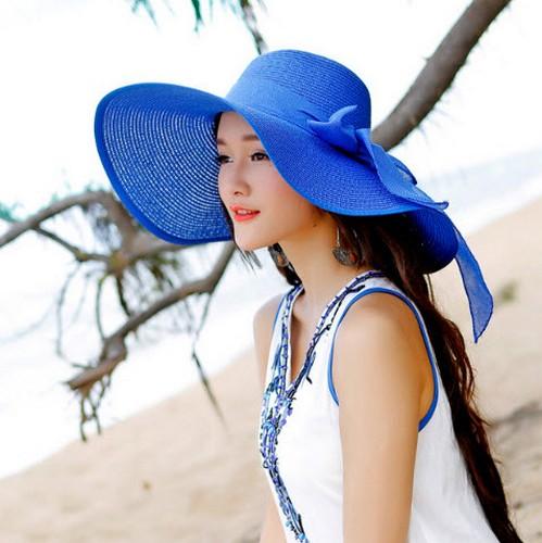 หมวกทรงWide brim สีน้ำเงิน ONE SIZE