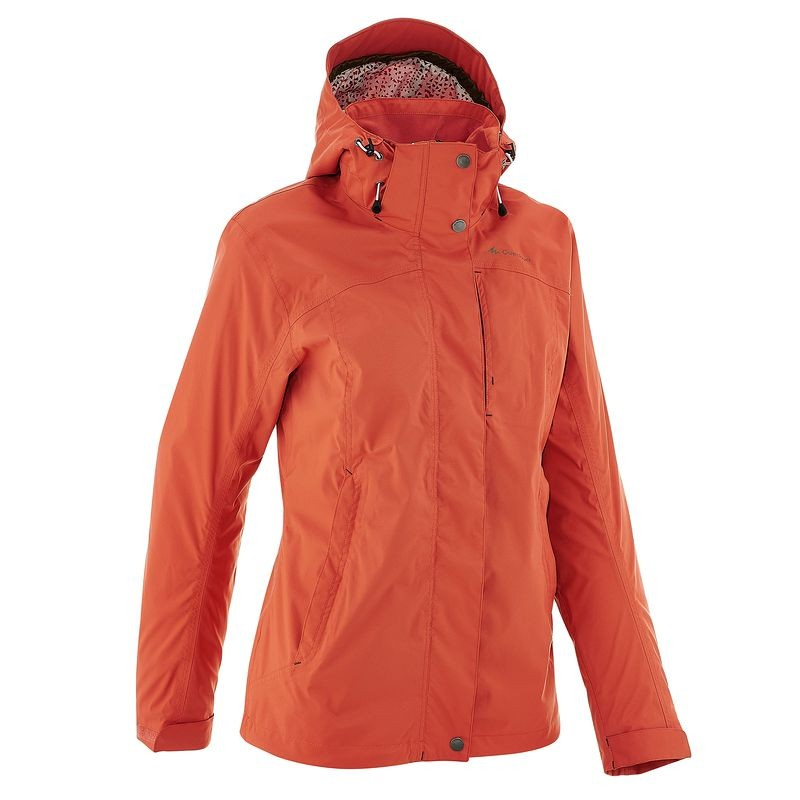QUECHUA Women's Waterproof Jacket (Orange)