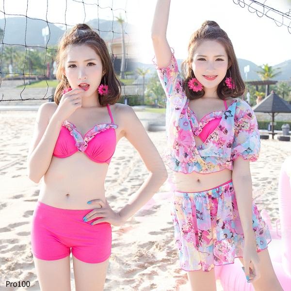 [พร้อมส่ง]ชุดว่ายน้ำทูพีช เซ็ต 4 ชิ้น สีชมพู มีเชือกผูกคอ แต่งระบาย (บรา+กางเกงขาสั้น+เสื้อคลุม)