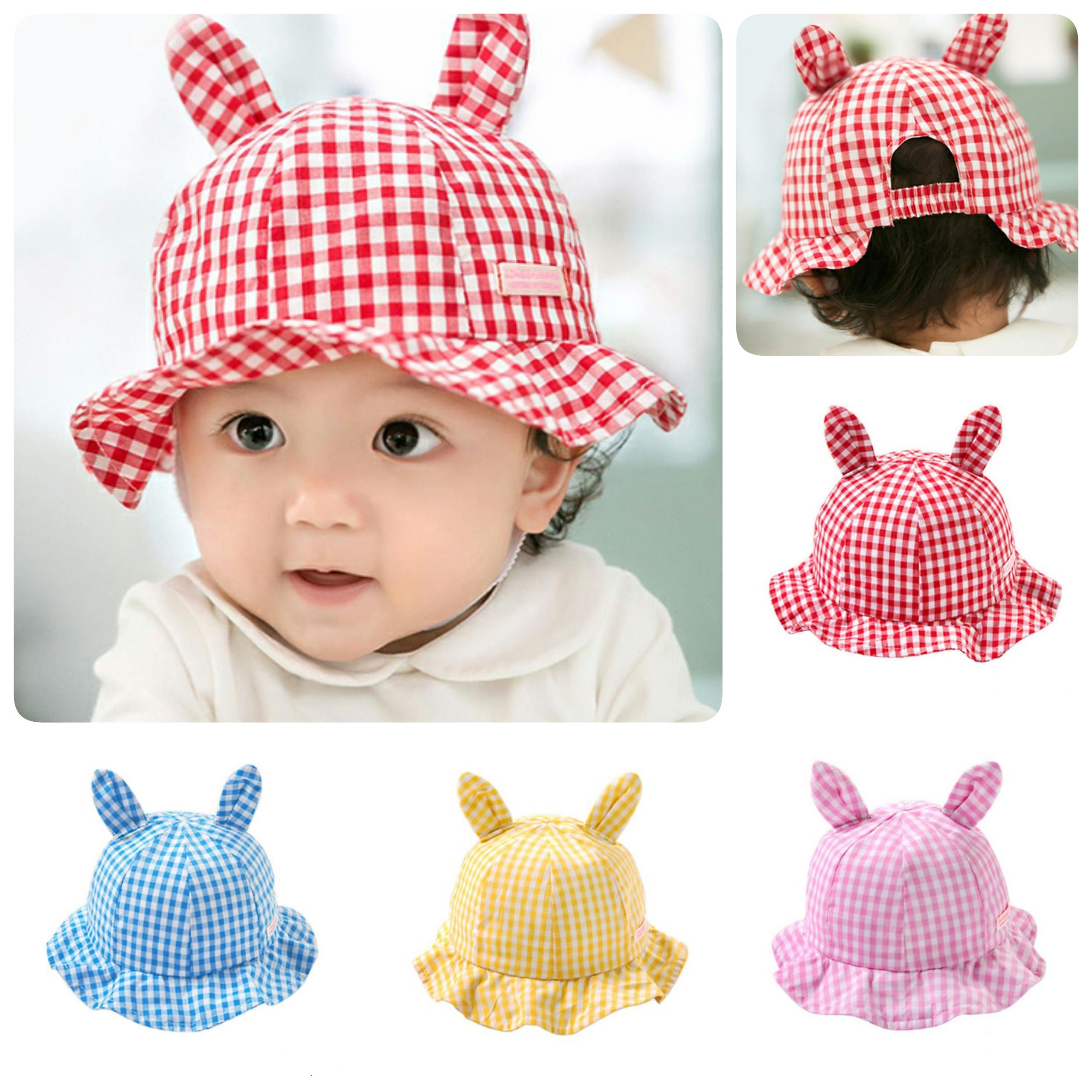 Baby Touch หมวกปีกรอบ ลายสก็อต มีหู (Hat - DE)
