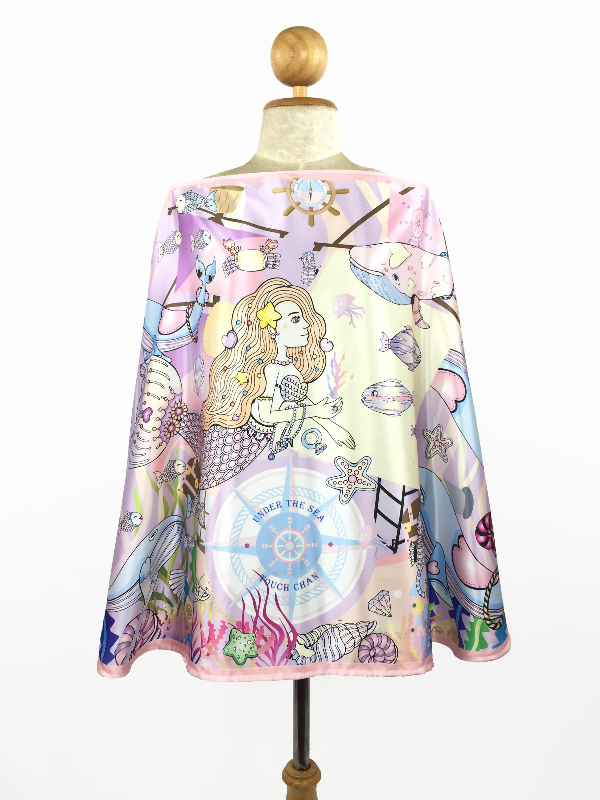ผ้าคลุมให้นม 'ทัชจัง' ลาย whale&#x2665whale My Little Space - สีม่วง