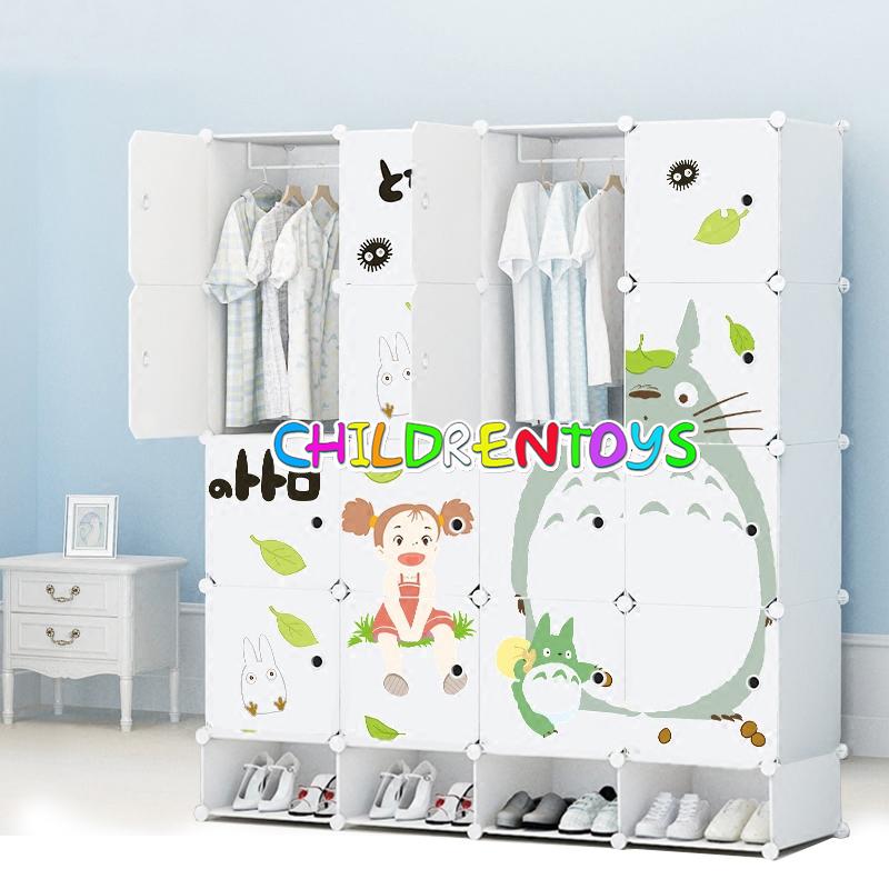 ตู้เสื้อผ้าเด็กพลาสติก DIY ลายแมวโทโทโร่ Totoro 12 ช่อง
