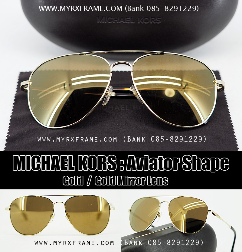 Michael Kors Sunglasses : Aviator Shape Gold Mirror Lens
