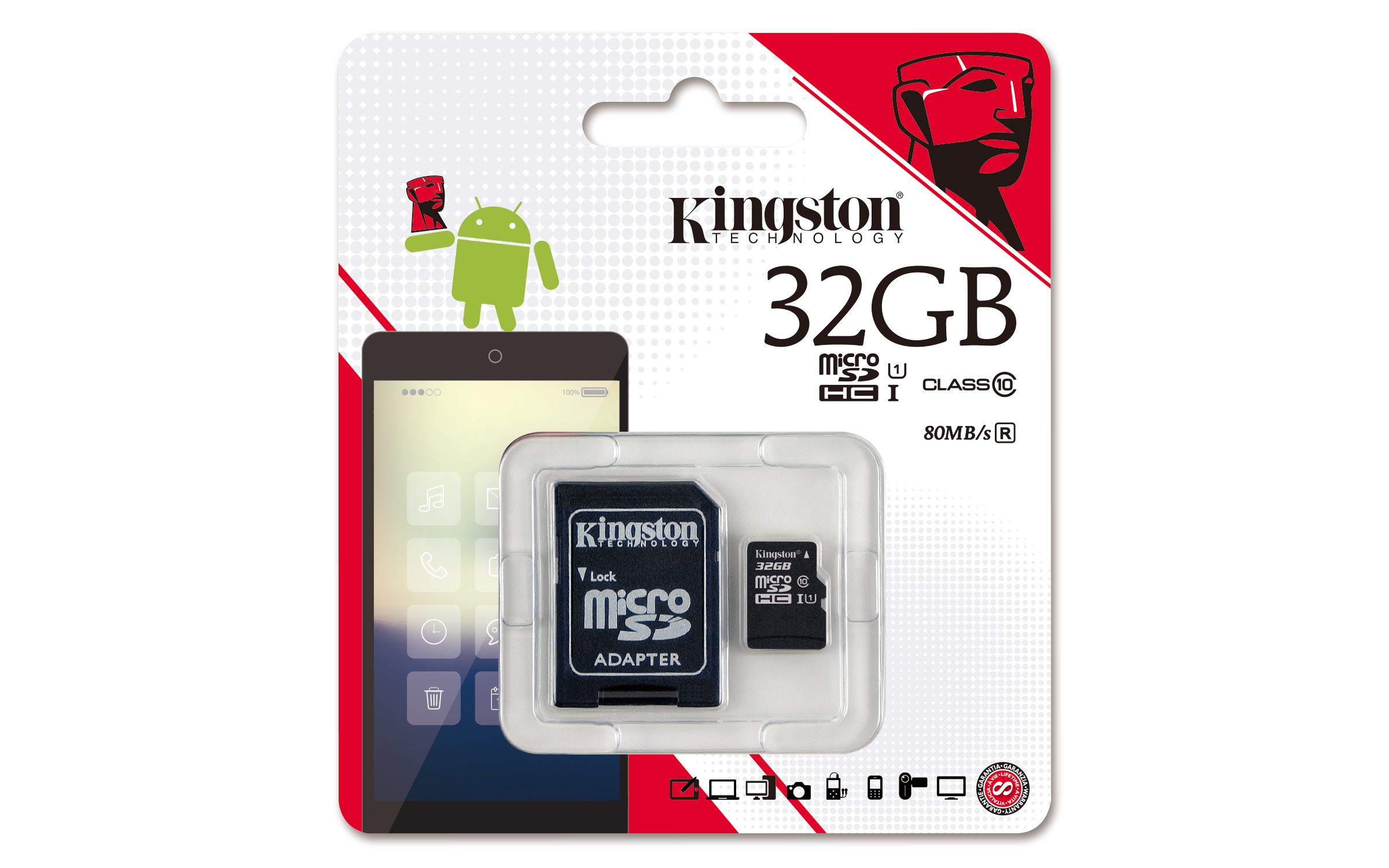 32 GB MICRO SD CARD KINGSTON CLASS10