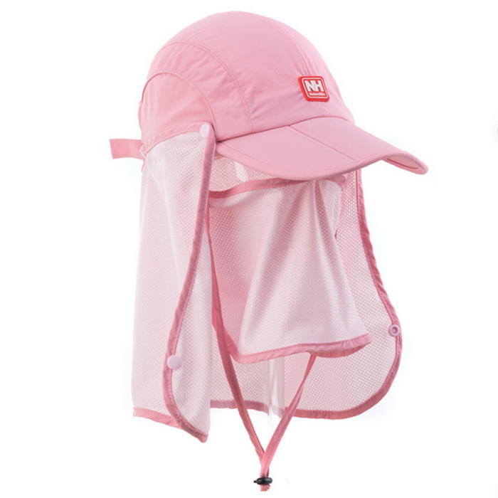 Nature Hike   Sun Shading Quick Dry Folding Cap with protective face mask (Pink)