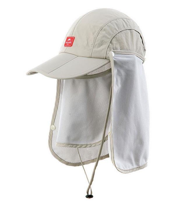 Nature Hike | Sun Shading Quick Dry Folding Cap with protective face mask (Khaki)
