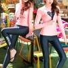 [พร้อมส่ง]ชุดว่ายน้ำแขนยาว+ขายาว+บิกินี เซ็ต 3 ชิ้น เสื้อสีชมพูสกรีนลายสวยๆ กางเกงสีดำ