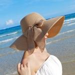 หมวกทรงWide brim สีกากี ONE SIZE