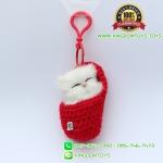 พวงกุญแจแมวนอนหลับในถุงเท้า สีแดง 8x5 CM [มีเสียง]