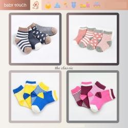 Baby Touch ถุงเท้าเด็ก ยาวบาง เซตทูโทน 4 คู่ (Socks - SST)