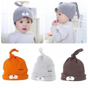 Baby Touch หมวกผ้านิ่ม หมีผูกจุก (Hat - FK)