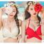[พร้อมส่ง]ชุดว่ายน้ำบิกินี่ทูพีช บราสีแดง+บิกินี่ลายดอกกุหลาบแดงสวยๆ thumbnail 2
