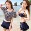 [พร้อมส่ง]ชุดว่ายน้ำทูพีช เซ็ต 3 ชิ้น สีดำ เสื้อคลุมสกรีนลายดอกไม้น่ารักๆ (บรา+กางเกงขาสั้น+เสื้อคลุม) thumbnail 1