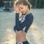 ชุดว่ายน้ำแขนยาวทูพีชสีกรม เสื้อครอป พร้อมส่ง ไซส์ M thumbnail 4
