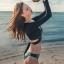 [พร้อมส่ง]ชุดว่ายน้ำแขนยาว เซ็ต 3 ชิ้น สีดำสกรีนลายสวยๆ (บรา+บิกินี่สีเขียว+เสื้อคลุมแขนยาวผูกเชือกด้านหลัง เซ็กซี่) thumbnail 7