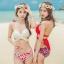 [พร้อมส่ง]ชุดว่ายน้ำบิกินี่ทูพีช บราสีแดง+บิกินี่ลายดอกกุหลาบแดงสวยๆ thumbnail 1