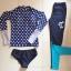 [พร้อมส่ง]ชุดว่ายน้ำแขนยาวขายาว เสื้อสีน้ำเงินลายจุดขาว+กางเกงน้ำเงิน เซ็ต 3 ชิ้น thumbnail 11