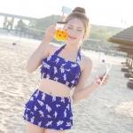 ชุดว่ายน้ำทูพีช มีฟองน้ำเสริม+ช่องสามารถถอดเสริมฟองน้ำได้ พร้อมส่ง blue ไซส์ (M L)