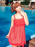 ชุดว่ายน้ำทรงชุดแซก สายเสื้อกล้าม สีแดงแต้มลายจุดขาว (ชุดแซก+กางเกงบิกินี่)