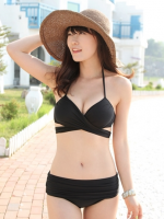 ชุดว่ายน้ำบิกินี่ทูพีช สีดำสวย (สายบราเหมือนเสื้อชั้นใน)