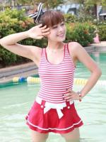 ชุดว่ายน้ำวันพีช สีแดง สายเสื้อกล้ามสวย สไตล์ Navy กระโปรงระบายแต่งโบว์น่ารัก