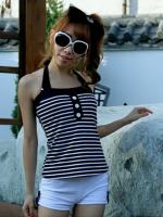ชุดว่ายน้ำทูพีชสีดำสวยๆ +เสื้อและกางเกงขาสั้น