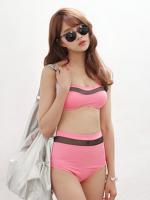 ชุดว่ายน้ำเอวสูง สีชมพู แต่งลายผ้าซีทรูสวยๆ