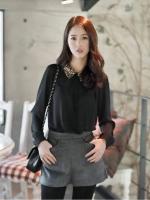 [รหัส B76996] เสื้อผ้าแฟชั่นพร้อมส่ง เสื้อเชิ้ตแฟชั่น คอปกแต่งเลื่อม ผ้าชีฟองเกาหลี แขนยาว แบบสวม เสื้อสีดำ (ไม่มีซับใน)