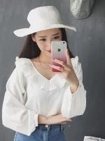 [รหัส WW8520] เสื้อผ้าแฟชั่นพร้อมส่ง เสื้อแขนยาวแฟชั่น ผ้า Chiffon pearl แบบสวม สีขาว