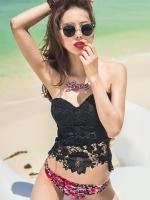 ชุดว่ายน้ำ Tankini เสื้อลูกไม้สีดำสุดเซ็กซี่ บิกินี่ลายดอกกุหลาบสวยๆ