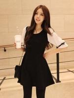 [รหัส B2251] เสื้อผ้าแฟชั่นพร้อมส่ง เดรสแฟชั่นผ้า Cloth Cotton ตัดต่อชีฟอง ที่แขนเสื้อ แบบสวม สีดำ