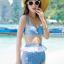 ชุดว่ายน้ำเอวสูง เซ็ต 3 ชิ้น สีฟ้าลายสวยแต่งระบายชีฟองขาว บรา+กางเกง+เสื้อคลุม thumbnail 1