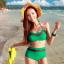 ชุดว่ายน้ำเอวสูง สีเขียว แต่งลายผ้าซีทรูสวยๆ thumbnail 1
