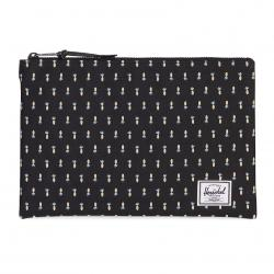 Herschel Network Pouch   L - Black Pineapple - Embroidery Collection