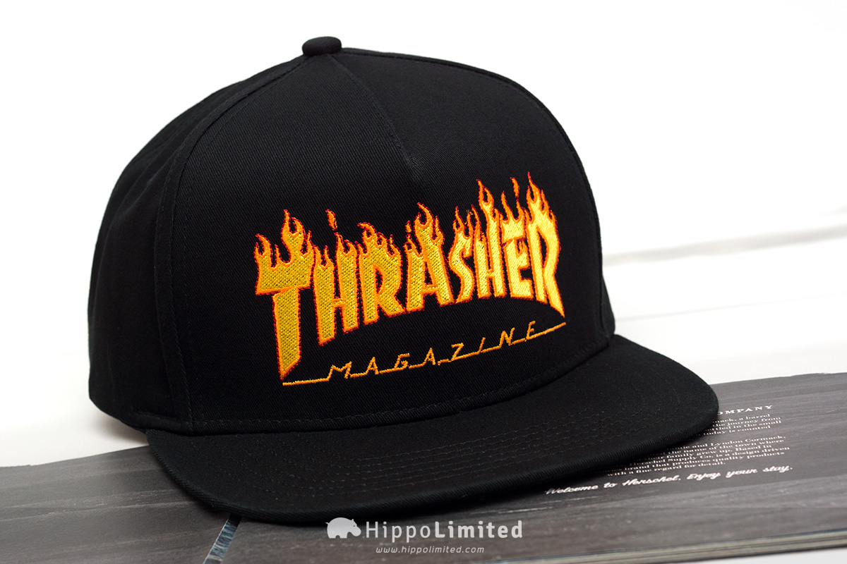 Thrasher Flame Cap 5-Panel Embroidered - Black