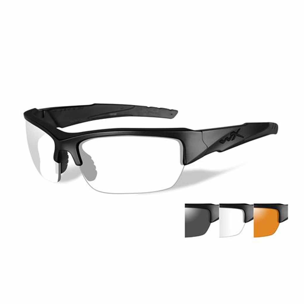 WileyX Valor - 3 Lens - Smoke Grey - Clear - Light Rust (Frame - Matte Black)