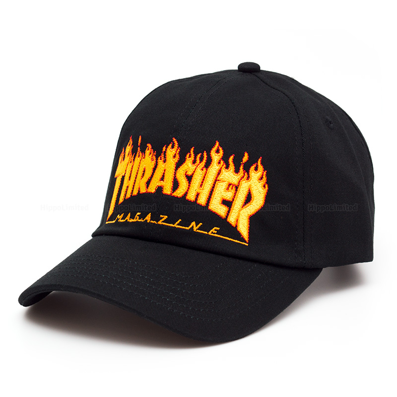 Thrasher Flame Cap 6-Panel Embroidered - Black