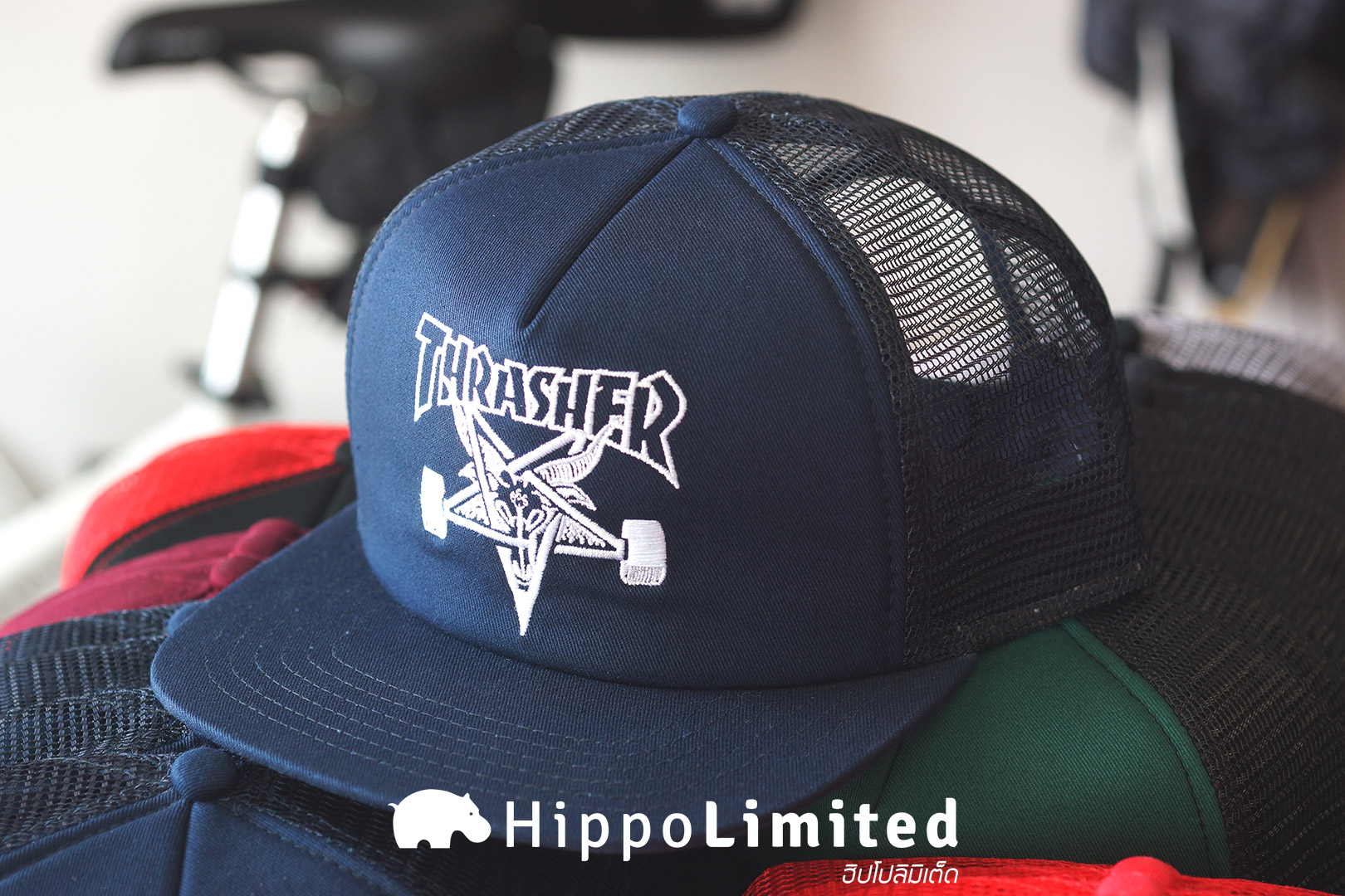 หมวก Thrasher Skategoat Mesh Cap - Navy