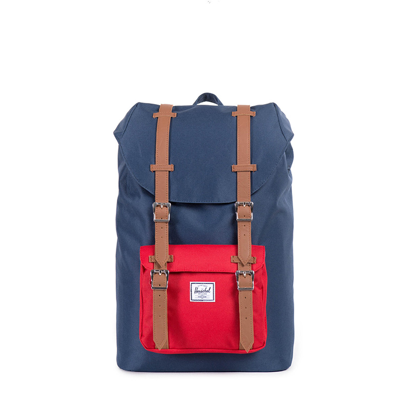 Herschel Little America | Mid Volume - Navy/Red/Tan Synthetic Leather