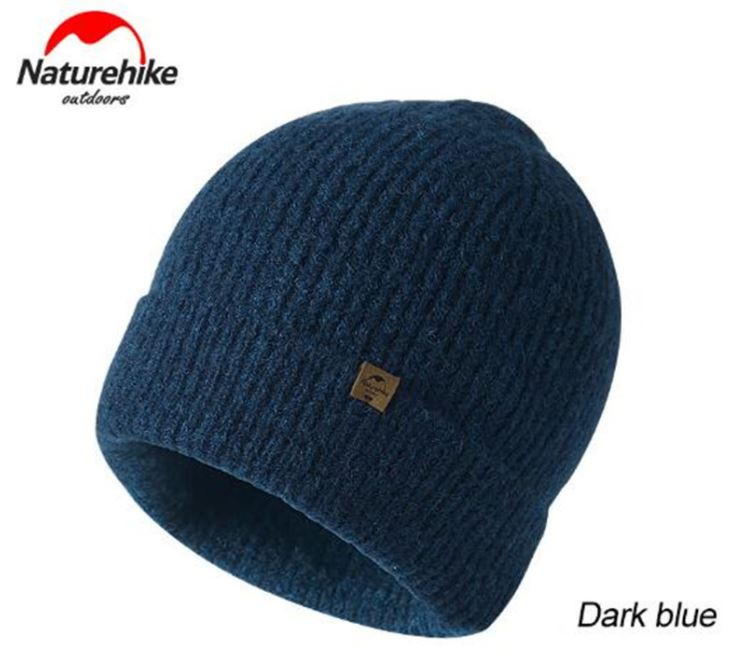 Nature Hike Wool beanie knitted hat (Navy)