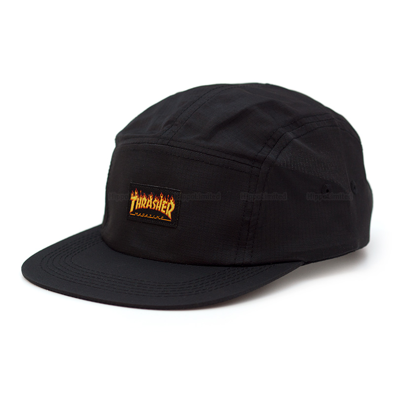 Thrasher Flame Logo 5-Panel Hat - Black