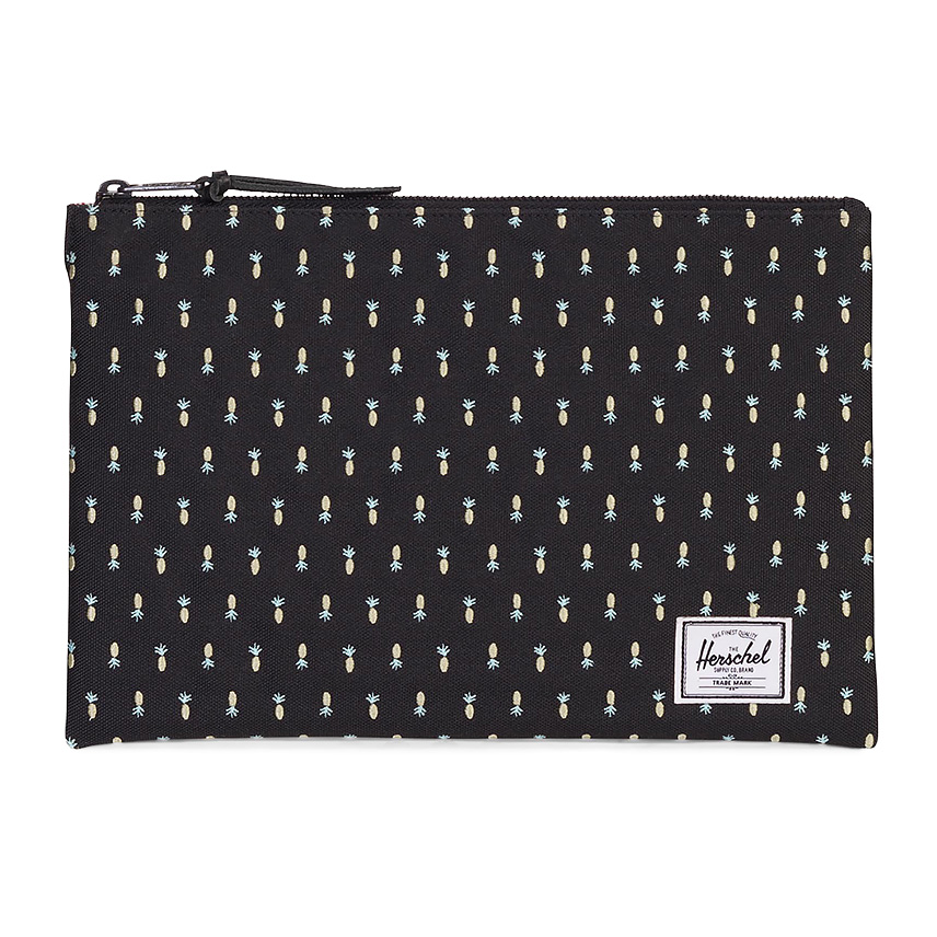 Herschel Network Pouch | L - Black Pineapple - Embroidery Collection