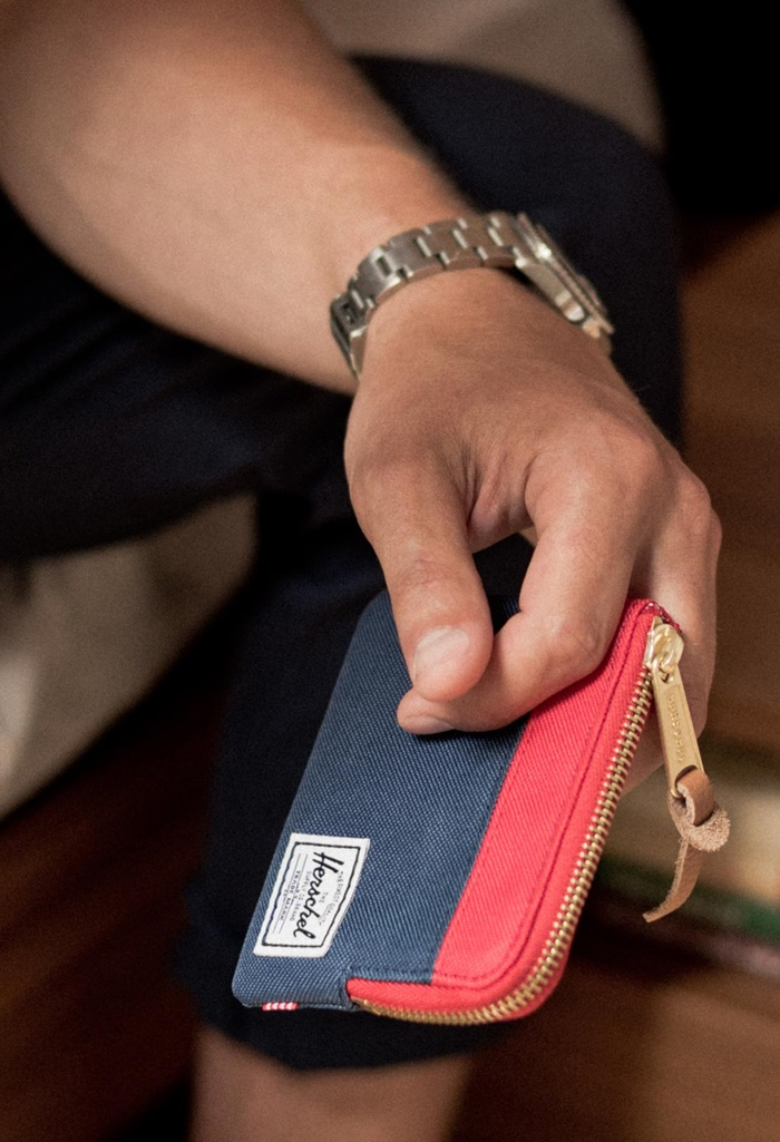 HERSCHEL JOHNNY WALLET - NAVY / RED
