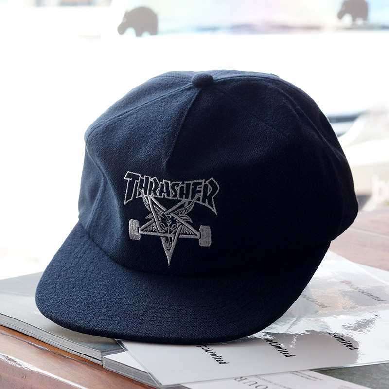 หมวก Thrasher Skategoat Wool Blend Snapback - Navy / White