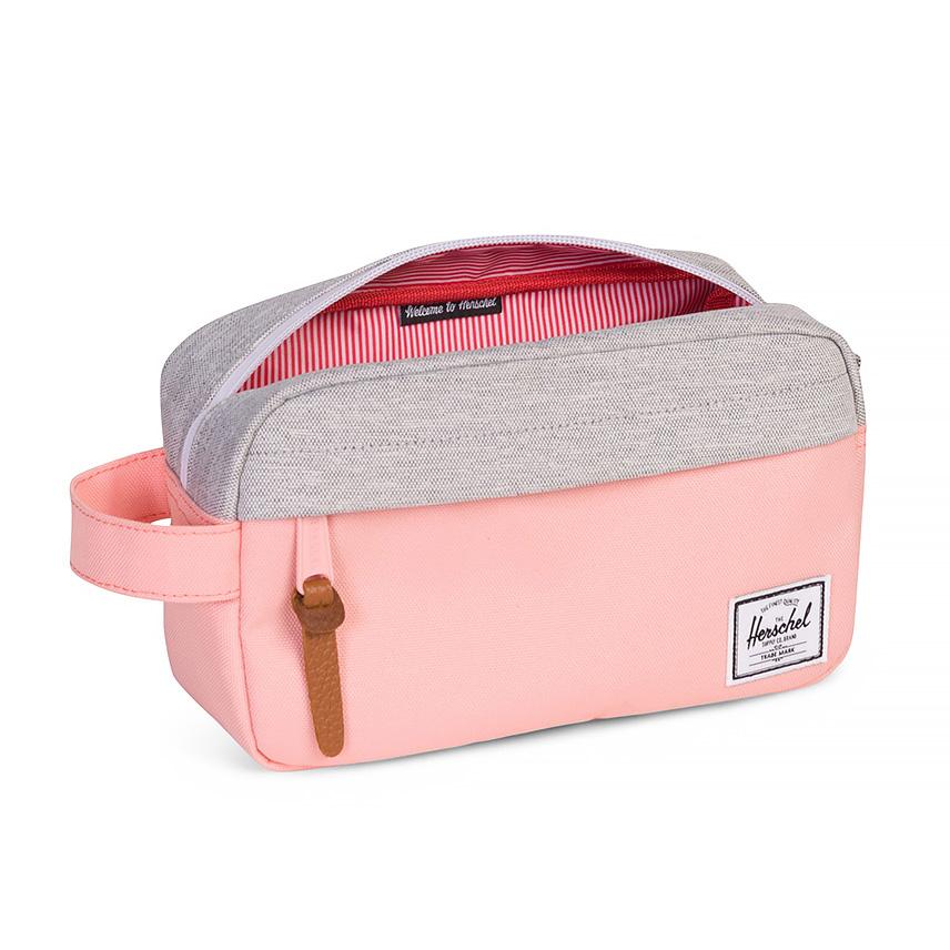 ตัวกระเป๋าแบบทูโทนสีพีชตัดกับสีเทา - ด้านใน
