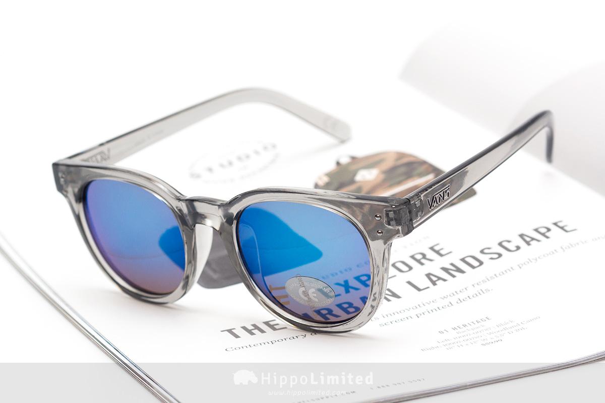Vans Welborn Sunglasses - Pebble Grey Translucent Royal Blue Mirror