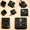 The Puffin House | Universal Travel Adapter with 2 USB ports (Black)