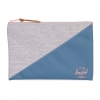 Herschel Network Pouch | L - Light Grey Crosshatch / Aegean Blue / Peach